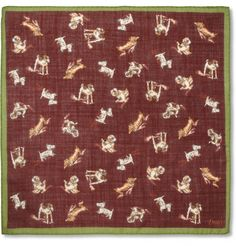 Drakes Dog Print Wool Silk Blend Pocket Square