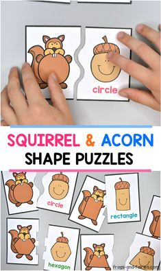 Practice matching shapes with these squirrel and acorn shaped puzzles! A seasonal freebie that is perfect for math centers with preschool and kindergarten kids this fall. #shapegames #fallfreebies #shapefreebies