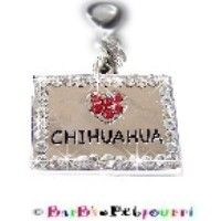 """Fancy Pants Fashion Jewelry Red Love Heart """"Chihuahua"""" Bling ID Tag / Charm ~ Surrounded by Clear Swarovski Crystals ~ 1"""" x 3/4"""" ~ with Lobster Clasp!"""