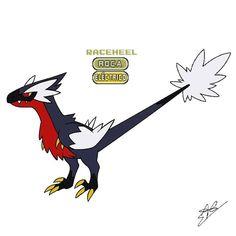 Raceheel Especie Rapaz Era un temible depredador que acechaba en bandadas de más de diez individuos, siendo capaces de cazar a Pokémon… Pokemon Fake, O Pokemon, Pokemon Fusion, Jurassic Park Raptor, Jurassic World, Pokemon Eeveelutions, Cute Creatures, Raptors, Digimon