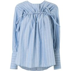 Rejina Pyo drawstring striped shirt (32.685 RUB) ❤ liked on Polyvore featuring tops, blue, long-sleeve shirt, rouched top, striped top, stripe top and ruched top