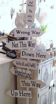 Fun signs at an Alice in Wonderland birthday party! See more party planning ideas at CatchMyParty.com!