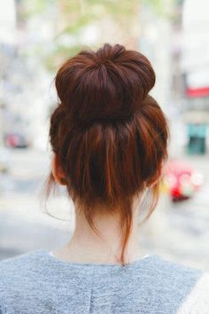 I have officially fallen in love with sock buns! My hair was long enough this morning!