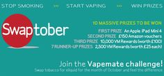 We've got a huge giveaway for this year's Swaptober. The prize pool is worth more than £800 and there are more than 20 ways to enter! Get involved at vapemate.co.uk Don't forget we're giving away a 20% discount on all eliquid for the whole of October. Just use voucher code SWAP20 at the checkout. #vape #vaping #vapelife #vapelyfe #vapers #ecigs #eliquid #swaptober #competition #contest #prizedraw #win #vapecommunity #vapeworld #vapingcommunity #vapenation #vapecontest