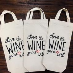 Love The Wine You're With Single Wine Bag with Handle