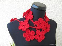 Crochet Flower Scarf Lariat