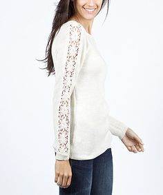 Look at this Ecru Embroidered Scoop Neck Top on #zulily today!