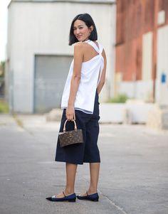 look calça culotte blusa street style