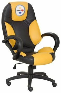 NFL Pittsburgh Steelers Leather Office Chair by Wild Sales. $349.95. Exclusively Licensed with the NFL. Tilt Tension Adjustment & Single Lever Seat Height Control with Locking Mechanism.. Styled and manufactured to replicate a sports car bucket seat.. High Back Executive Office Chair. Officially Licensed using Top Grain Leather in the Team Colors Contoured Lumbar Support extra padded seat for maximum comfort.. NFL Pittsburgh Steelers Leather Office Chair