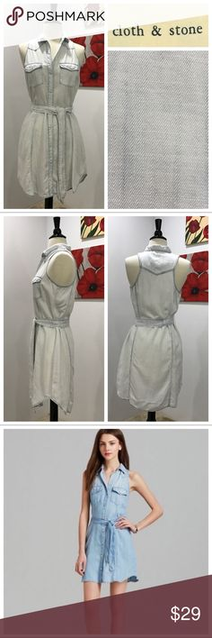 Anthropologie's Shirt dress by Cloth & Stone Light wash. Excellent preloved condition. 100% Tencel. Sleeveless. Shirttail hem. Button front. Chest pockets. Tie. No trades. Price firm unless bundled. Anthropologie Dresses