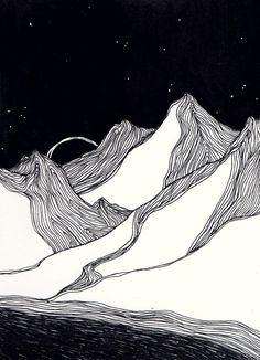 Landscape drawing with pen and ink 2016