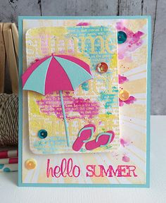 ~ hello summer ~ - Scrapbook.com - Watercolors, die cutting, stamping, embossing and more combine to make this fantastic card!