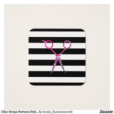 Chic Stripe Pattern Stylist Square Business Card #haircare #salonowner #appointment #hairstylist #cosmetologist #salonstylist #stripes #stripepattern #grunge #blackandwhite #hairstylistschool #barbering #grooming #professional #magenta #feminine #girly #cosmetologyschool #shears #barber #esthetician #scissors #haircut #womensbeauty #hairstylist #hair #stylist #elegant #fashion #barbershopconnect #barberfam #schedule #texture #grungy #artistic #design #classy #rustic #chic