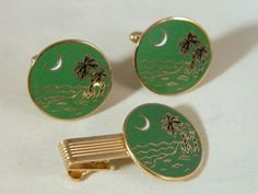 Green Enamel Palm Tree and Ocean Scene Goldtone Cuff Links and Tie Clip Set / Vintage 1960s Men's Accessories / Tie Clip and Cufflink Set by VintageBaublesnBits on Etsy