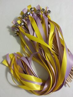 100 Ribbon Wands with Bells ~ pick colors  ~ Shown in  Daffodil & Lilac #DivinityBraid