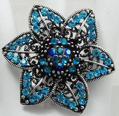 Statement Flower Ring/Turquoise/Blue/Rhinestone/Cocktail