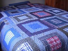 This quilt was made for my teenage son using plaid shirts.   It started with shirts that he had outgrown and then I added in shirts I found at the thrift store.  I stipple quilted the quilt top to add extra texture  and I found  a brand new plaid flannel double sized sheet at the thrift store to use for the quilt back.  Even the binding on this quilt is plaid!