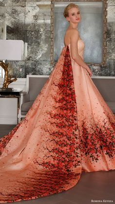 romona keveza bridal spring 2017 strapless surplice sweetheart organza ball gown wedding dress red bougainvillea print detachable Cathedral train