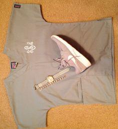 Gray/white monogrammed scrubs