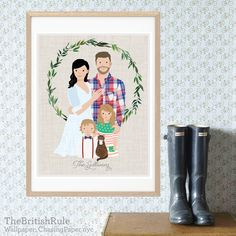Custom Family Portrait Custom Portrait (BASE PORTRAIT two people) illustration personalized digital FREE Christmas holiday card