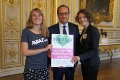 The BIGGEST CLIMATE CHANGE March Ever! ; ) Sunday 2014-09-21 Avaazers Marie Yared + Flore Blondel presenting the 100% RENEWABLE PETITION  to President Hollande of France (pix via Avaaz) • worldwide mobilisation: 675k! • other cities: NYC (80 city blocks!! up to Wall St) / Paris / Berlin / London / Melbourne / Delhi etc. • goal of movement: meet like this every few months till crucial Paris climate summit in Feb 2016...