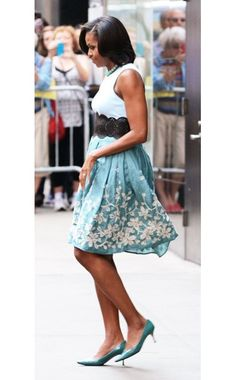 I was buying this skirt when the saleslady showed me a photo of Michelle Obama wearing it. She looks great in it. I'm looking forward to wearing it myself.