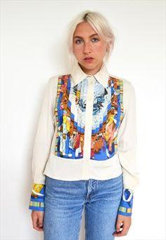 RARE VTG Pure Silk Chinese print Pleated Hermes Shirt
