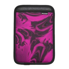 Pink and black fractal sleeve for iPad mini, customized, personalized, name, text, artwork, buy, sale, gift ideas, zazzle, pink, black, spots, fractal, magenta, bright, purple, colorful, dark, abstract,  design