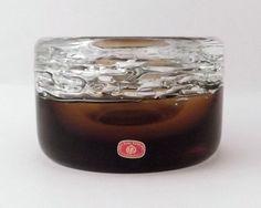 Skrdlovice Frantisek Vizner 7411 -- beer froth glass bowl ashtray -- Czech art glass -- with label