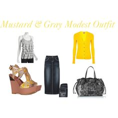 :) Mustard & Gray Modest Outfit, created by mishashawnea96 on Polyvore