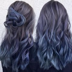 Another view of the previous post. Used all Kenra Professional guy tang favorites Metallic Demi color. Hair by Kim Kim Ketcham… Hair Dye Colors, Cool Hair Color, Demi Hair Color, Metallic Hair Color, Curly Hair Styles, Blue Ombre Hair, Grey Hair Dye, Dark Blue Hair, Aesthetic Hair
