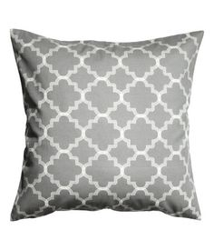 Gray. Cushion cover in woven cotton fabric with a printed pattern. Concealed zip.