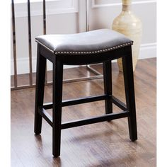 Abbyson gray leather counter height stools