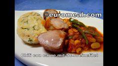 Herzhaftes Chili con carne mit gebratenem Schweinefilet Sausage, Meat, Food, Chili Con Carne, Carne Asada, Cooking, Eating Well, Eten, Sausages