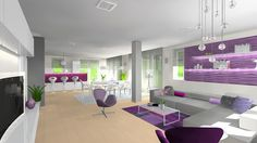 living room, dining room, kitchen, purple, 3D vizualization, rendering, interior design, swan chair, kartell ghost, foscarini, bocci