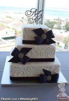 "Design W 0531 | Fondant Wedding Cake | 12""+ 9""+ 6"" | Serves 120 | Fondant Ribbon & Bows w/ Broach | Custom Quote"