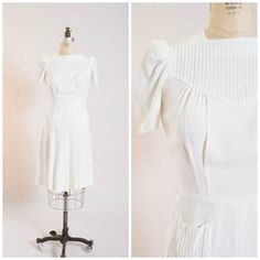 1940s Vintage War Era Dress White Rayon Crepe by stutterinmama