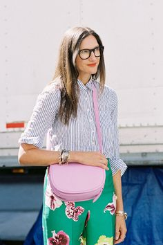 jenna lyons: masuline pinstripes and oversized glasses meets feminine florals and sugar-coated extras