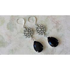 Black Teardrop Earrings, Drop Earrings, Swarovski Crystal Earrings,... ❤ liked on Polyvore featuring jewelry, earrings, teardrop earrings, anniversary jewelry, swarovski crystals earrings, swarovski crystal jewellery and drop earrings