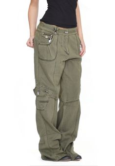 Womens Army Green Baggy Loose Cargo Pants Wide Boyfriend Combat Trousers Jeans