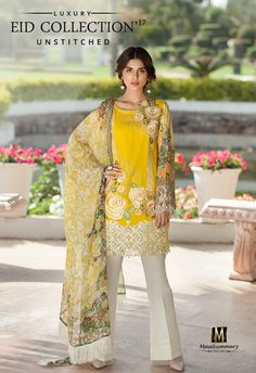 Mausummery 3 piece unstiched lawn dress Full shirt embroidered double head work Front heavy embroidered daman patch Printed back… Pakistani Fashion Casual, Pakistani Street Style, Pakistani Outfits, Indian Outfits, Indian Fashion, Pakistani Clothing, Pakistani Dresses Online Shopping, Suits Online Shopping, Pakistani Lawn Suits