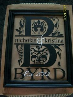 I like the layout on this one with the layering! gift I like the layout on this one with the layering! Vinyl Projects, Craft Projects, Project Ideas, Craft Gifts, Diy Gifts, Monogram Frame, Monogram Template, Diy Monogram, Vinyl Frames