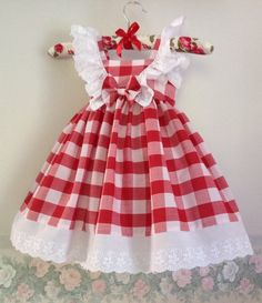Red and White Checked Gingham Dress White Lace Frills Cotton Little Girl Dresses, Girls Dresses, Flower Girl Dresses, Summer Dresses, Gingham Fabric, Gingham Dress, White Lace, White Dress, Full Skirts