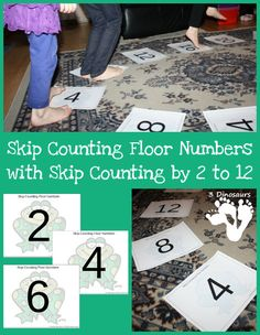 Free Skip Counting Floor Printables - Skip counting by 2 through 12 Dyslexia Activities, Math Activities For Kids, Movement Activities, Fun Math, Math Games, Classroom Activities, Maths, Kids Learning, Teaching Numbers