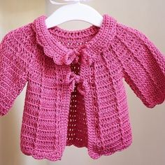 Candy Pink Baby Cardigan, crochet pattern -- HAVE!  Saved to Google Drive docs!