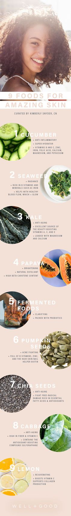 Psoriasis Revolution From cucumbers and papaya to kale and sauerkraut (surprise!)—these are the foods that can seriously impact the look and health of your skin. Diy Skin Care, Skin Care Tips, Best Beauty Tips, Beauty Hacks, Organic Skin Care, Natural Skin Care, Natural Beauty, Natural Life, Natural Living