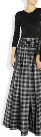 Taos Plaid Silk Blend Taffeta Maxi Skirt