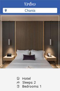 habitaciones de hotel Vacation Hotel Suites in Chania Hotel Bedroom Design, Bedroom Furniture Design, Bedroom Decor, Hotel Interiors, Luxurious Bedrooms, Modern Bedroom, Modern Hotel Room, Room Interior, Interior Design