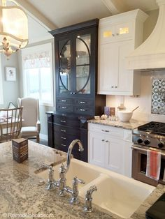 Kitchen with built in hutch and kitchen island. Featured on Remodelaholic.com Kitchen design. Kitchen cabinets. Cottage Kitchens, Farmhouse Kitchen Decor, Home Kitchens, Kitchen Hutch, Kitchen Island, Built In Hutch, Parade Of Homes, Dream Decor, Kitchen Design