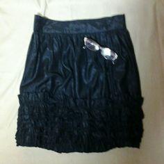 Twenty  One  Mini  Skirt. NWOT. Ruffles At Bottom, Has A Shimmer to it,Zipper  In Back,Dark Navy Blue Very Pretty. Twenty  One  Skirts Mini